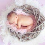 カゴの中で眠っている赤ちゃん